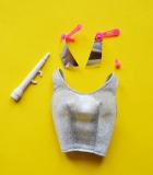 Barbie 1985 Rock Stars original outfit top, microphone, ring and earrings
