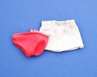 Skipper 1974 #7848 Get ups 'n Go Beach outfit, bikini hose and white shorts, shorts need refreshed