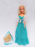 Barbie doll 1974 Quick Curl Deluxe with original dress, scarf and hair piece 1