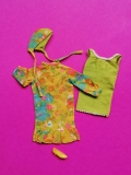 Francie outfit 1967 #1288 In Print, minor spots on front green dress