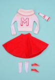 Barbie outfit 1964 #876 Cheerleader, due to storage, white has gone off-white somewhat