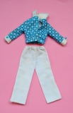 Skipper outfit 1974 #7772 Geometric print jacket, white pants, with blue buttons intact