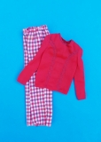 Barbie outfit 1976 #9576 check pants and red blouse