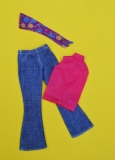 Barbie outfit 1972 #3351 Good Sports, jeans, top and scarf, excellent