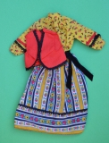 Barbie outfit 1978 #2226 yellow peasant dress, red vest
