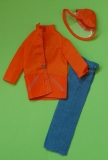 barbie outfit 1974 7822 orange rain coat, hat and jeans