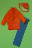 barbie outfit 1974 7822 orange rain coat, hat and jeans