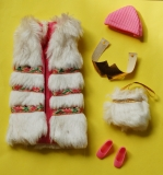 SOLD Barbie outfit 1974 European Exclusive Primi Freddi St Moritz, hat, vest, belt, bag, htf original shoes