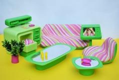 Barbie furniture 1978 Dream Furniture Living Room green pink inside box 2