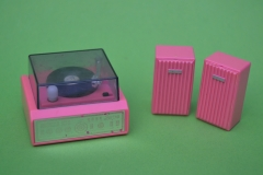 Barbie miniatures windup record player stereo set Action Accents 1986