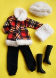 Fleur outfit 1222 Plaid coat with white fur collar