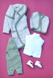 Fleur outfit 1264, green ensemble, white sandals, excellent