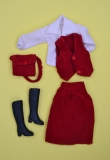 fleur outfit 1232 red rib suit, blouse could be refreshened, nothing serious, excellent