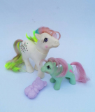 My Little Pony G1 Confetti and Baby Cuddles, with comb