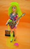 Jem doll Pizzaz, complete with shoes, guitar, undies, sock, belt, bracelets, stand and music tape, stand has a crack, can be glued, not disturbing on display