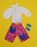 Sindy outfit 1973 Gaucho, pink variation, with blue bow shoes, excellent
